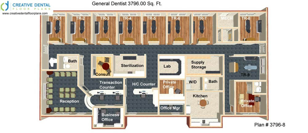 3 D Dental Office Design Floor Plan Periodontist 3796.00 Sq. Ft. Plan #  3796 12 Gallery Item 3 D Dental Office Design Floor ...